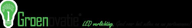 logo Groenovatie LED verlichting. Goed voor het milieu en uw portemonnee