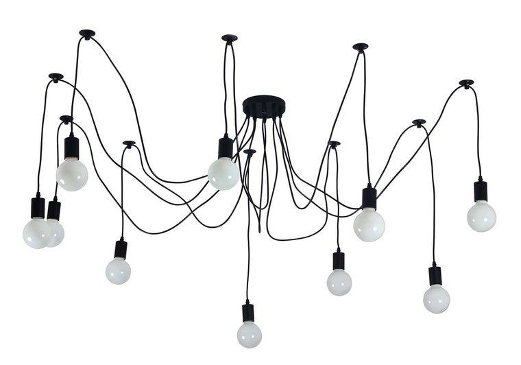 Edison Vintage Hanglamp, 6 Lamphouders Zwart