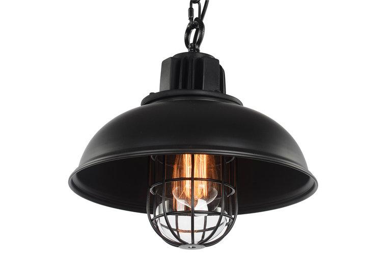 Brooklyn Vintage Industriele Hanglamp Kooi Met Ketting, Zwart