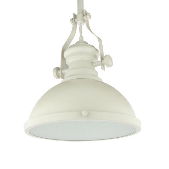 Vintage Brocante Hanglamp Wit Met Glazen Diffuser 32cm