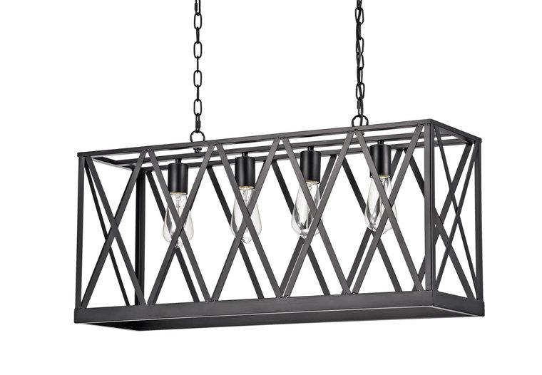 Roubaix Vintage Industriële Hanglamp Zwart 4 Lampen