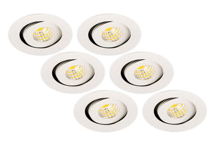 Inbouwspot LED 3W, Rond, Kantelbaar, Aluminium, Dimbaar, Zilver, 6-Pack