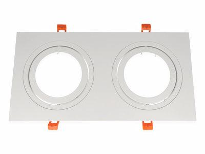 inbouwspot dubbel vierkant kantelbaar wit mat