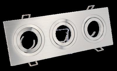 Inbouwspot Triple Vierkant Kantelbaar Geborsteld Aluminium