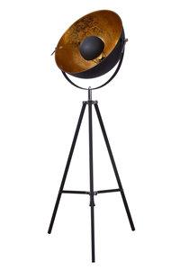 Industrieel Design Tripod Vloerlamp Goud Zwart