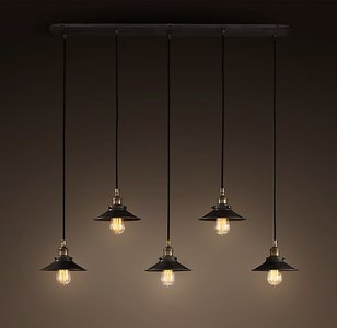 Industrieel Design Hanglamp 5 Kappen Zwart - Eetkamer Hanglamp
