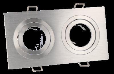 Inbouwspot Dubbel Vierkant Kantelbaar Geborsteld Aluminium