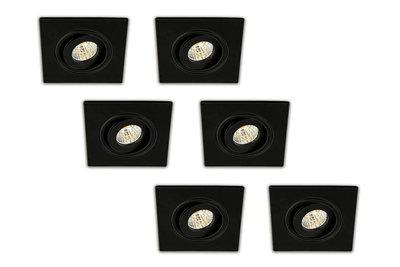 LED inbouwspot zwart 6 stuks